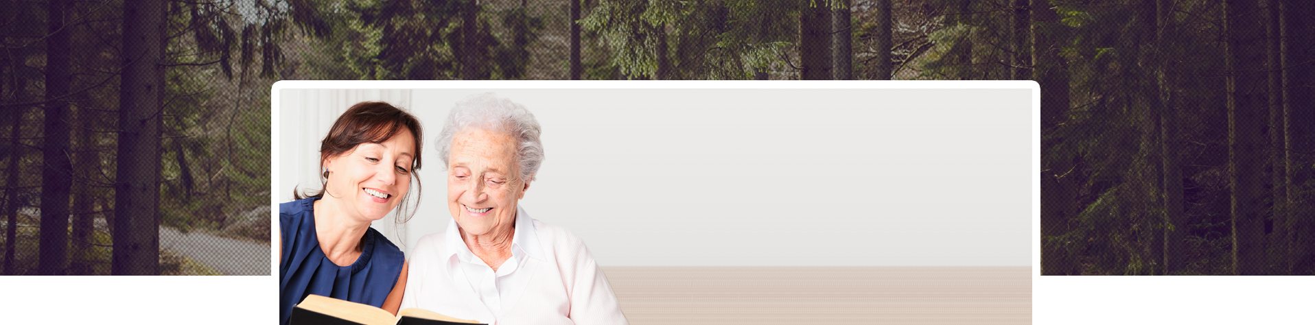 A picture of an elderly woman with her befrienderset amongst a background image of trees.