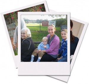 A polaroid montage image of a lady in later life with her volunteer befriender and the volunteers children
